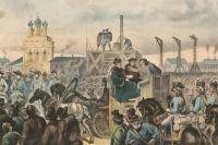 «Казнь Емельки Пугачёва в Москве». Литография (1865)