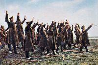 Первая мировая война. Капитуляция русский войск. Немецкий пропагандистский рисунок.