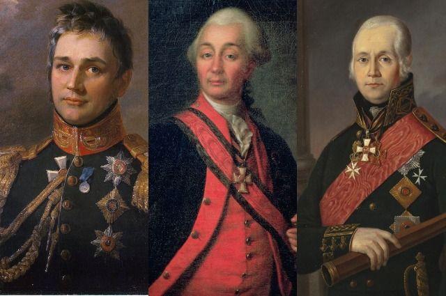 Михаил Воронцов, Александр Суворов и Фёдор Ушаков.