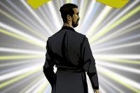 В качестве супергероя в комиксе выступает священник.
