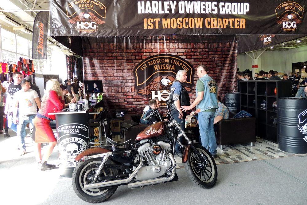 Уголок первого в России отделения Harley Owners Group - клуба владельцев мотоциклов Harley-Davidson.