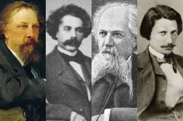 Писатель и поэт Алексей Константинович Толстой, братья Александр, Алексей и Владимир Жемчужниковы.