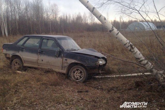 Очевидцы сообщают, что автомобиль, вылетев с дороги, врезался в дерево.