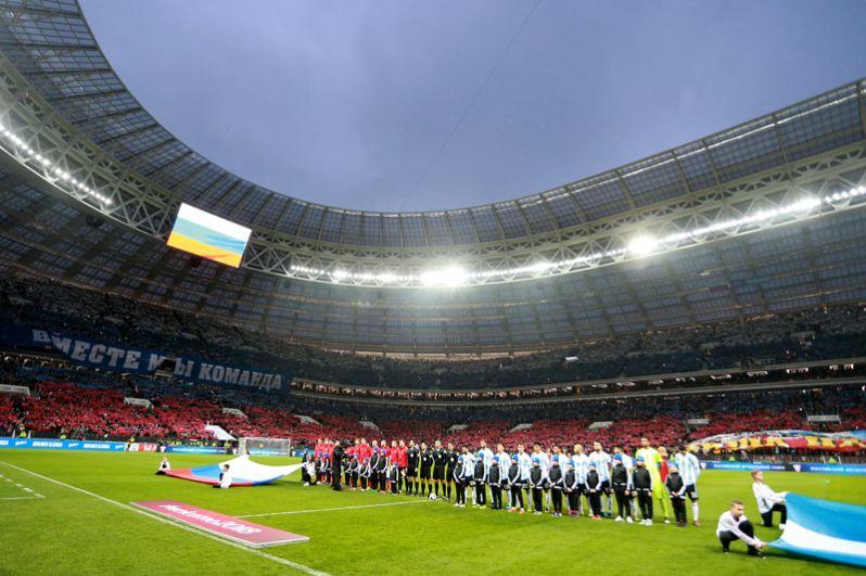 «Лужники», Москва. 11 ноября 2017 года стадион был открыт после продолжительной реконструкции, сборная России принимала сборную Аргентины и проиграла со счётом 0:1.