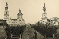 Даже сейчас улица Гончарова выглядит узнаваемой – пешеходный бульвар по центру и две полосы движения по бокам. Вдали видны (слева) Вознесенский собор и (справа) Троицкая церковь. Фото 1866 г.