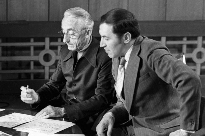 Французский исследователь Жак Ив Кусто и телеведущий Николай Дроздов в передаче «В мире животных». 1977 год.
