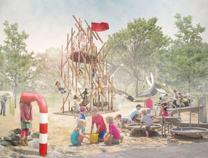 Детская зона в парке на ул. Комарова