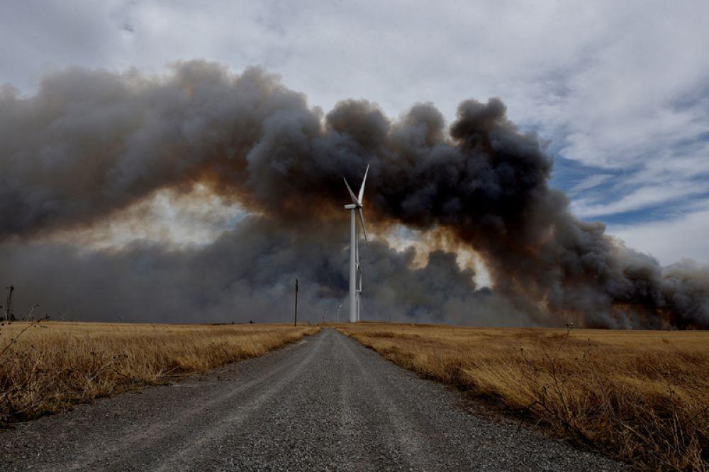 Лесные пожары в штате Оклахома, США.