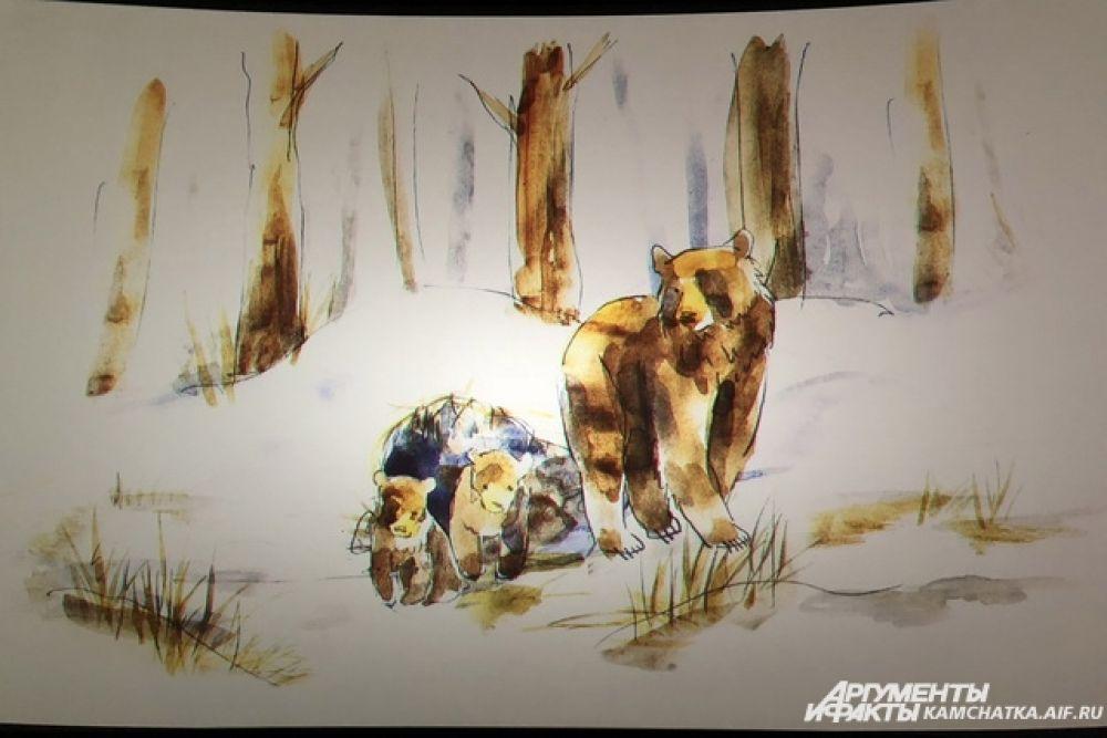 Начало киноленты рассказывает о рождении медвежат.