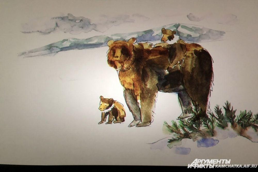 Главные герои фильма - медведица Самапятая с четырьмя медвежатами и мама Тесла с двумя сеголетками.