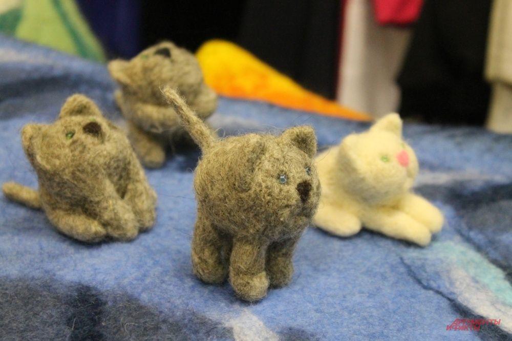 Коллекция кошек из валяной шерсти