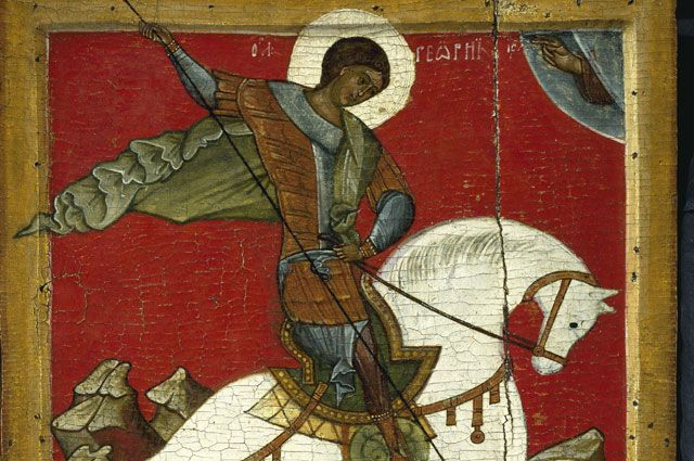 «Чудо Георгия о змие». Новгородская икона, конец XIV века.