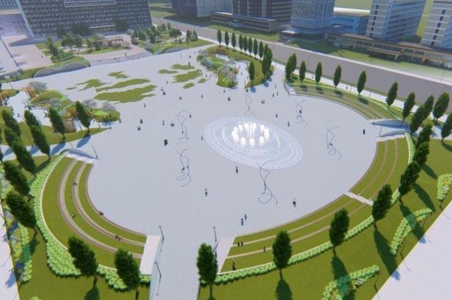 Летом около краевого Законодательного Собрания будет работать фонтан, который сейчас строят. Зимой - ледовый городок