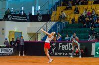 Матч плей-офф мировой группы II командного чемпионата мира по теннису Кубок Федерации между женскими сборными командами России и Латвии в Ханты-Мансийске
