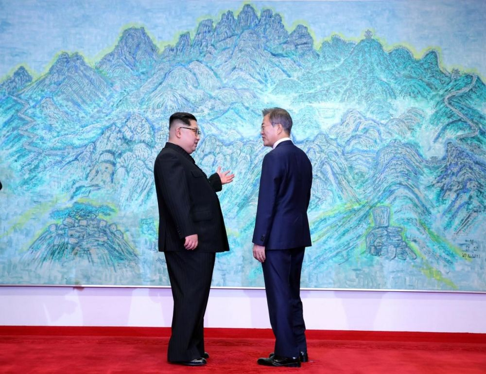 На фото - президент Южной Кореи и лидер Северной Кореи на фоне схематического изображения Корейского полуострова.