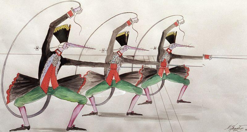 Михаил Шемякин стал автором эскизов (костюмов, масок, декораций) и работал над либретто к балету «Щелкунчик» в постановке Мариинского театра в 2001 году. На фото: репродукция эскиза Шемякина «Крысы-офицеры».