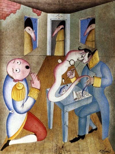 Иллюстрация к повести Николая Гоголя «Нос». 1985 год.