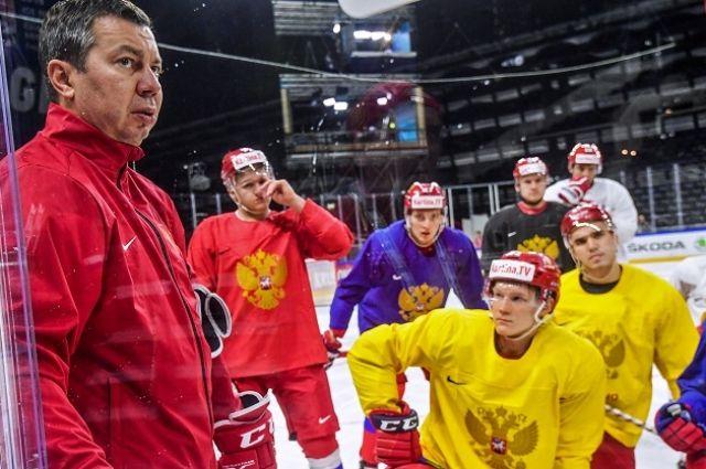 Илья Воробьев (слева) на тренировке в преддверии чемпионата мира 2018 в Дании.