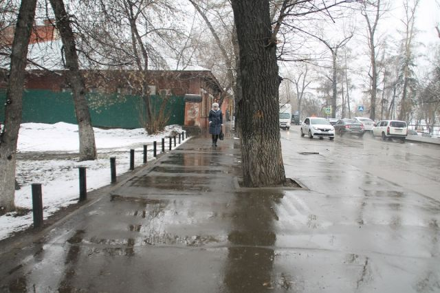 Снег выпал ночью в Новосибирске.