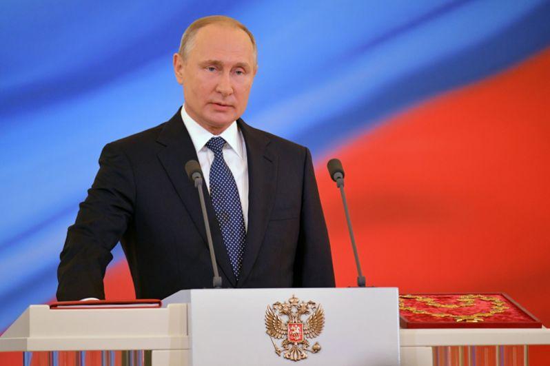 Владимир Путин во время церемонии инаугурации в Кремле.