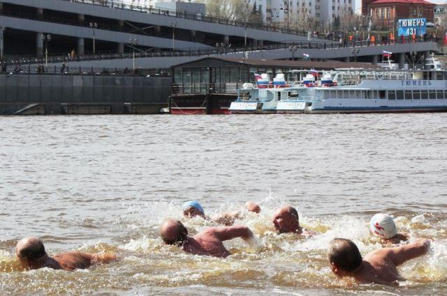 В Тюмени моржи проплыли по Туре в честь Дня Победы