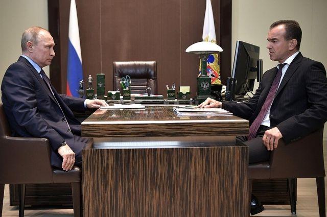Глава Краснодарского края встретился сПутиным, чтобы обсудить исполненье майских указов