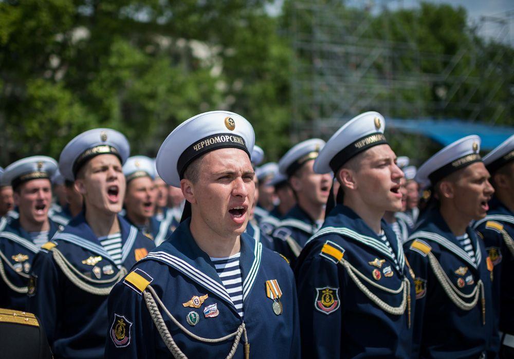 Торжественное построение личного состава Черноморского флота в Севастополе, посвященное 235-летию основания Черноморского флота.