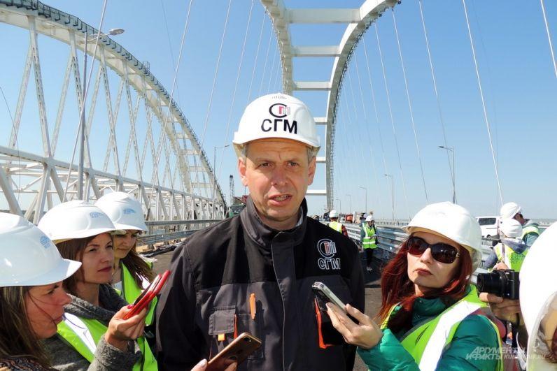 Один из главных строителей Крымского моста - заместитель генерального директора по инфраструктурным проектам ООО «Стройгазмонтаж» Леонид Рыженькин. 26 апреля 2018 года.