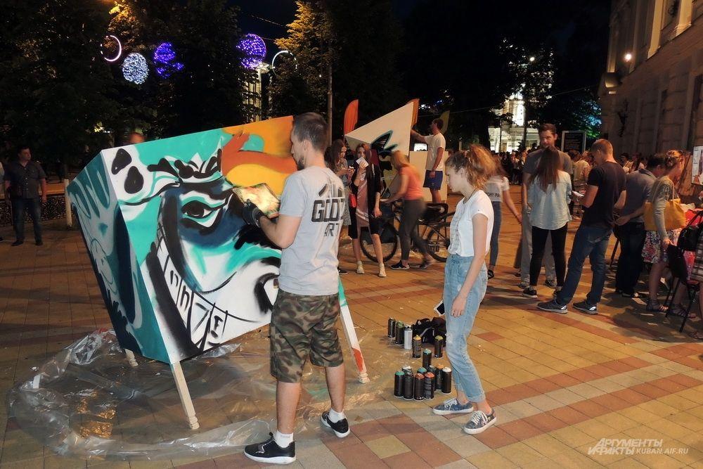 Процесс создания граффити.