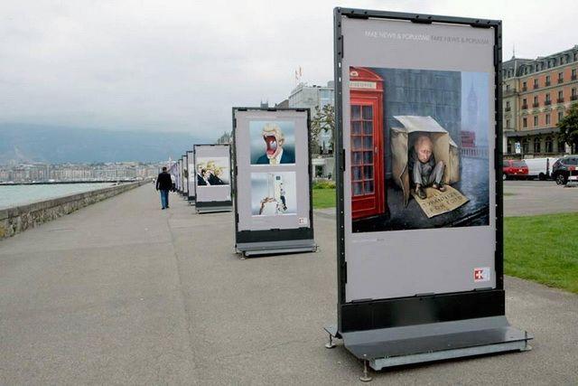 Выставка карикатуристов на набережной Женевского озера.