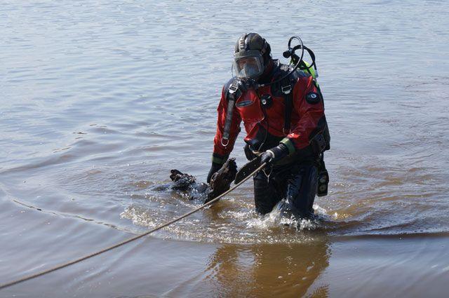 Водолазы проверяют акваторию Центрального пляжа Ярославля.