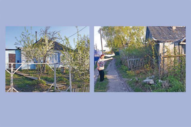 Слева дом Раисы Васильевны, который она всеми своими силами старается держать в порядке, а совсем рядом - заброшенные ветхие дома, где в любой момент может возникнуть пожар.