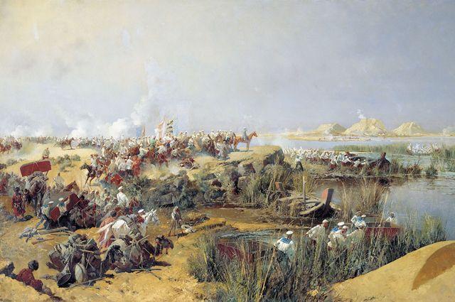 Переправа туркестанского отряда через Аму-Дарью в 1873 году. (Каразин Н. Н., 1888).