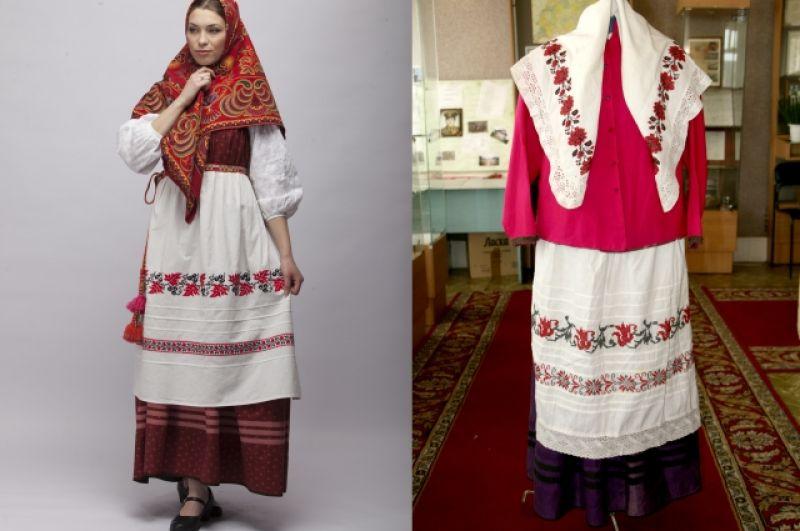 Реплика женского костюма Казанской губернии (слева) и образец собранный из фондов Пестречинского краеведческого музея (справа).