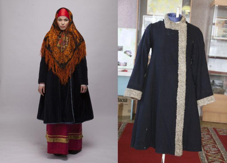 Реплика зимнего костюма жительницы Казанской губернии (слева) и образец кафтана с имитацией каракуля из Пестречинского краеведческого музея.