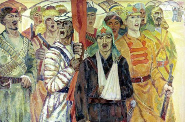 Репродукция картины «Поющие «Интернационал»». Художник Камиль Шаяхметов.