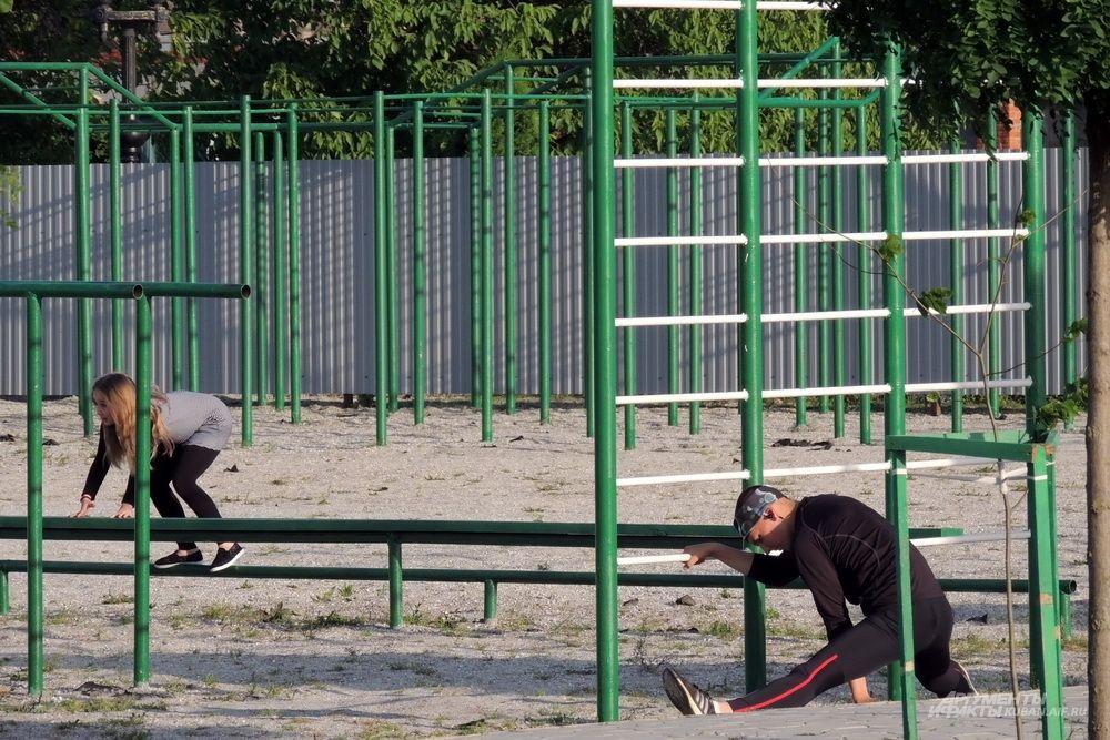В парке много места для занятий спортом.