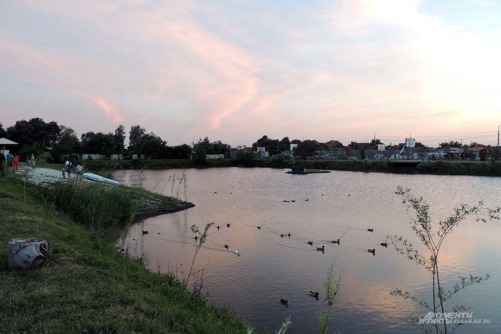 Также на территории парка находится искусственный водоем.