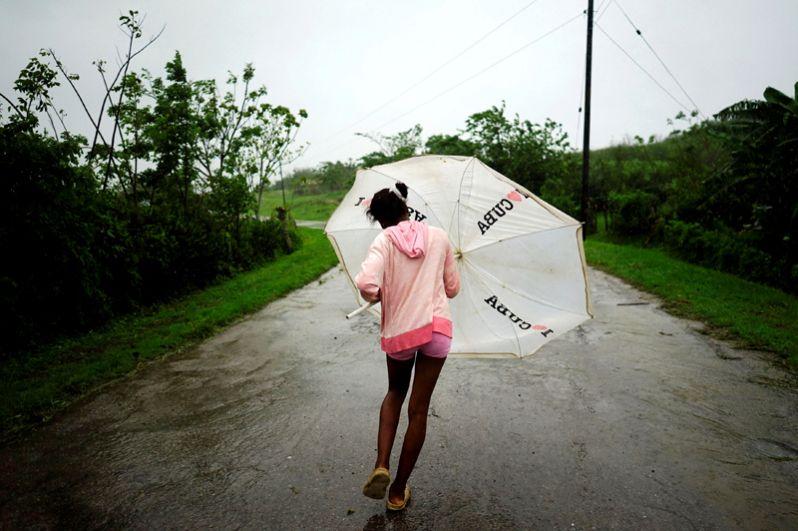 Сильный ветер во время шторма в Ла-Пальме на западном побережье Кубы.