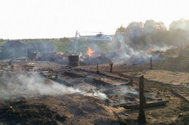 Вот так выглядят последствия крупного пожара в Холмогорском райне.