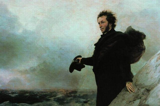 «Прощание Пушкина с морем». 1877 г. Иван Айвазовский, Илья Репин.