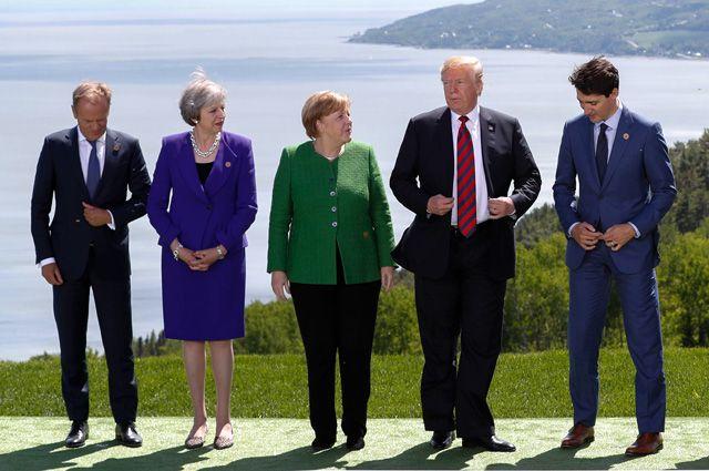 Председатель Европейского совета Дональд Туск,  премьер-министр Великобритании Тереза Мей, канцлер Германии Ангела Меркель, президент США Дональд Трамп и премьер-министр Канады Джастин Трюдо на саммите G7.