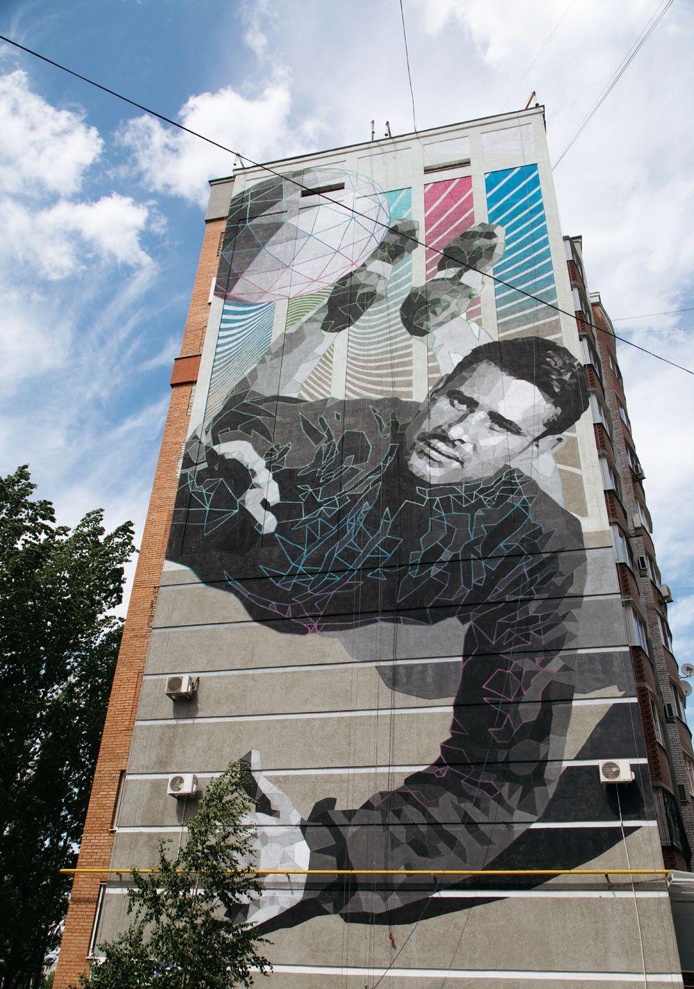 Граффити с изображением игрока сборной СССР Льва Яшина, посвященное чемпионату мира по футболу ФИФА-2018 в Самаре.