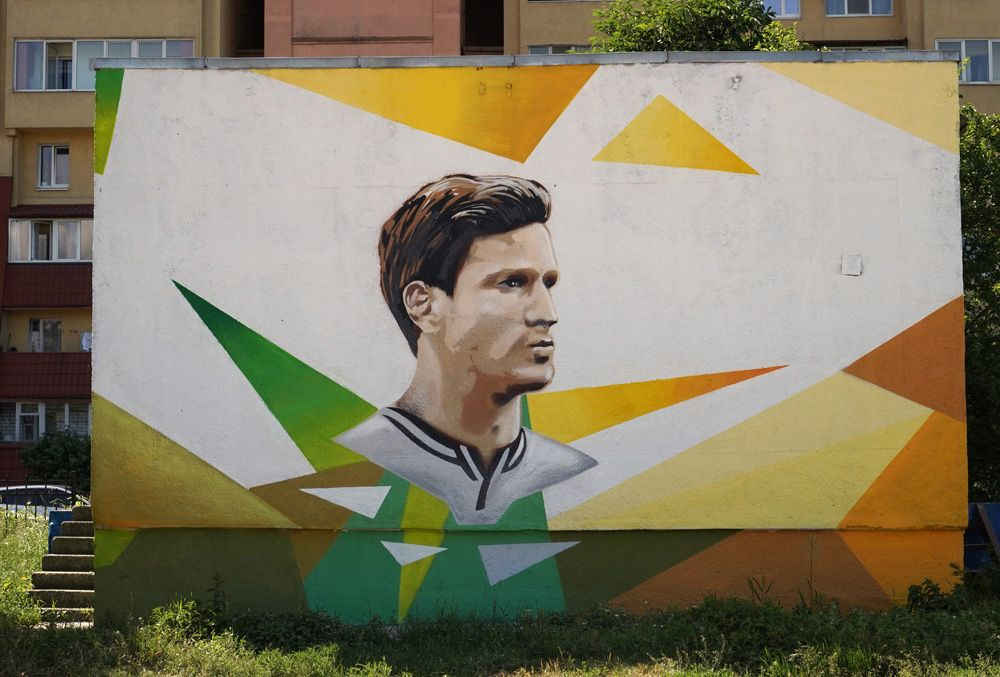 Граффити с изображением бельгийского футболиста Яна Вертонгена, посвященное чемпионату мира по футболу ФИФА-2018 в Калининграде.
