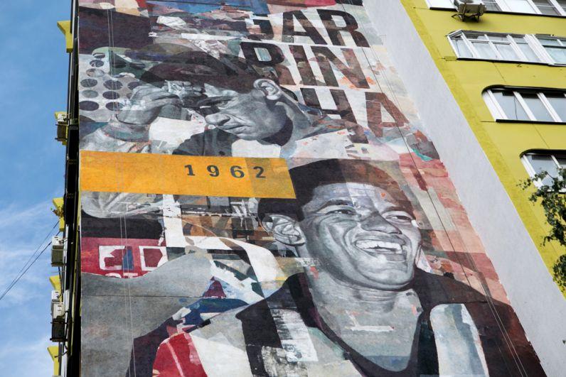 Граффити с изображением игрока сборной Бразилии Эдсона Арантиса ду Насименту (Пеле), посвященное чемпионату мира по футболу ФИФА-2018 в Самаре.