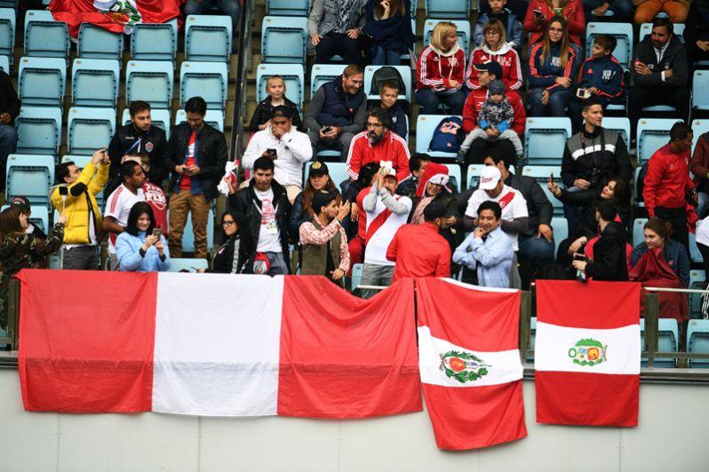 Болельщики во время тренировки сборной Перу в Химках.