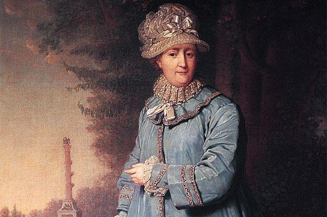 Екатерина II на прогулке в Царскосельском парке. Картина художника Владимира Боровиковского, 1794 год. Фрагмент.