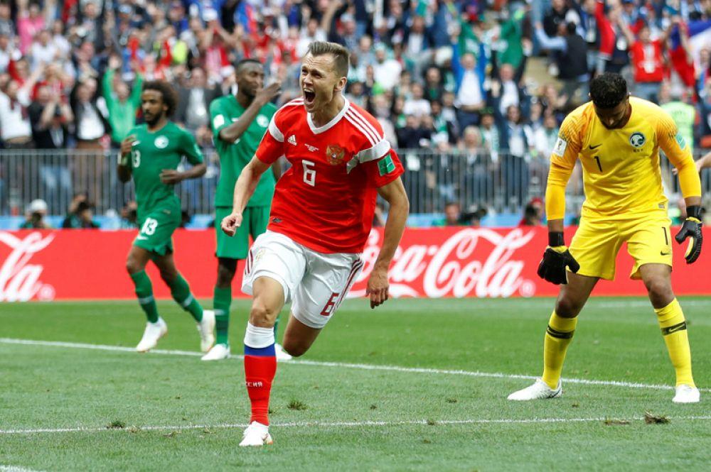 Дзагоева на поле заменил Денис Черышев, который забил второй гол в ворота Саудовской Аравии.