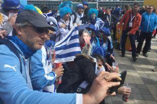 Уругвайские болельщики 15 июня перед матчем своей сборной с Египтом (1:0). По некоторым данным, в Екатеринбург приехало около шести тысяч поклонников южноамериканской команды.