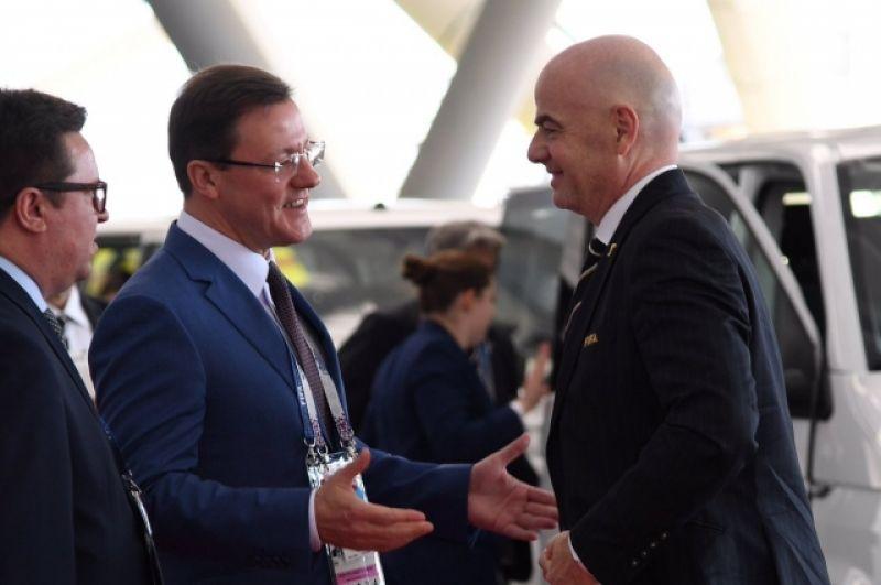 Президент FIFA Джанни Инфантино - почетный гость матча.